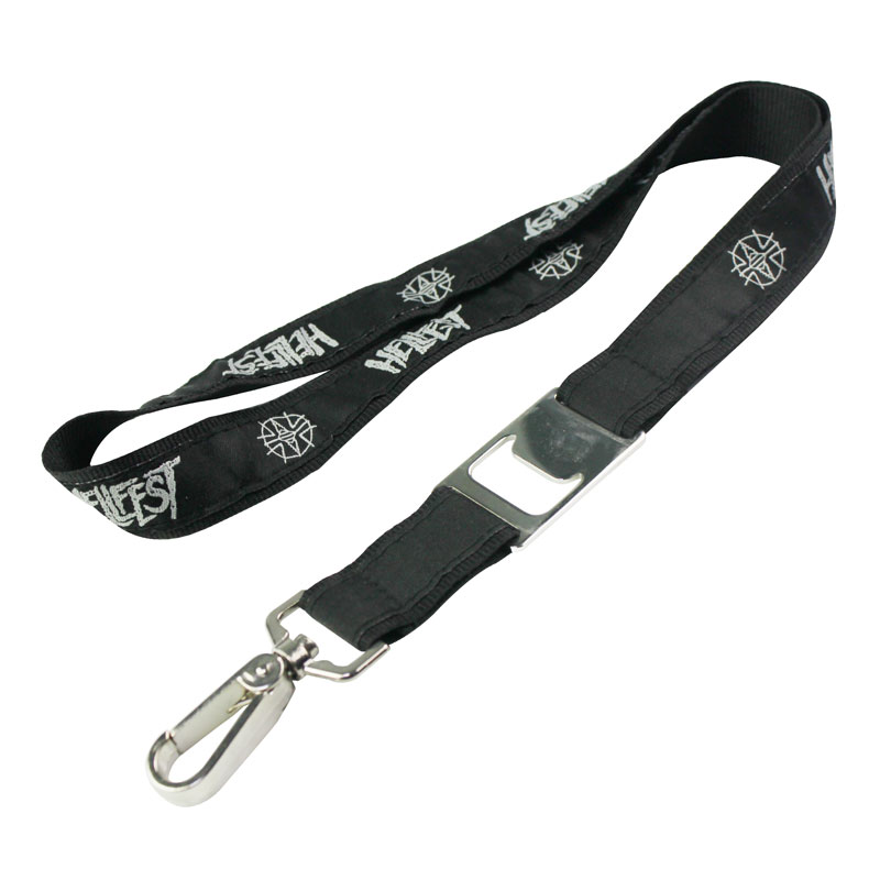 polyester material heavy duty lanyard with bottle opener
