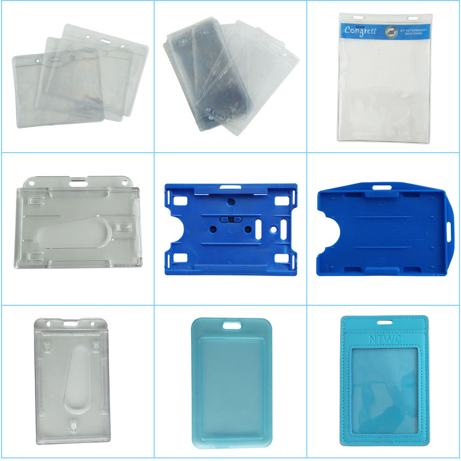 Plastic Double Sided ID Card Holder For Lanyard