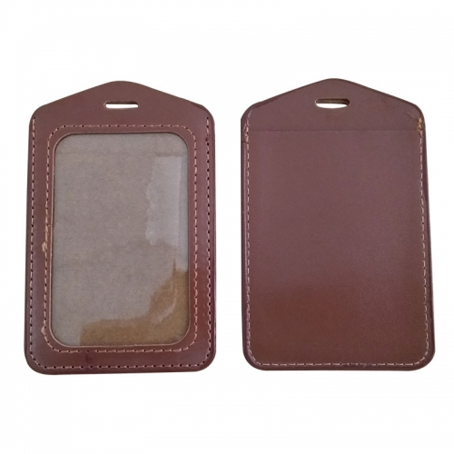 Vertical Brown PU Leather ID Card Holder